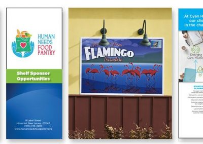 Samples of graphic design brochures, advertisements and signage